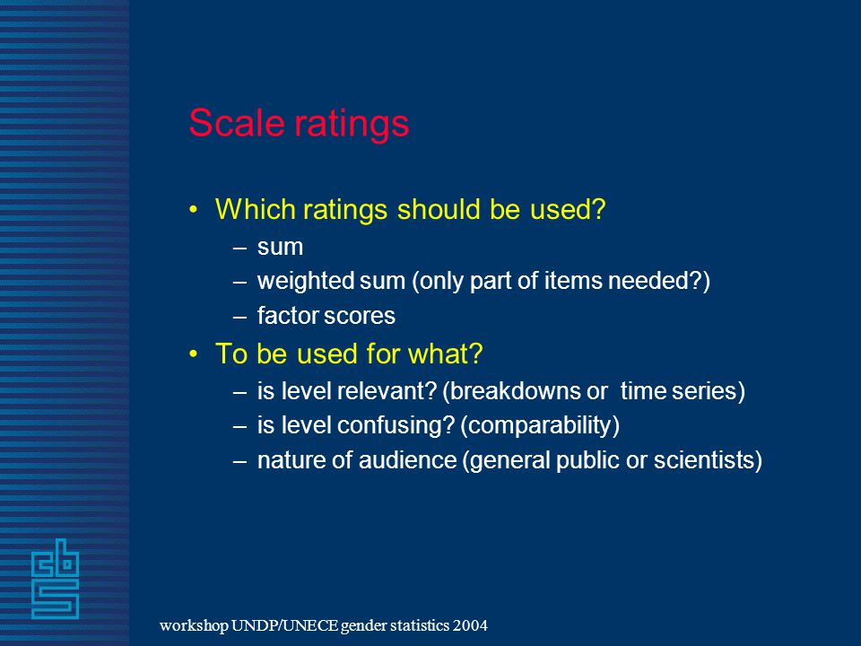 workshop UNDP/UNECE gender statistics 2004 Scale ratings Which ratings should be used.