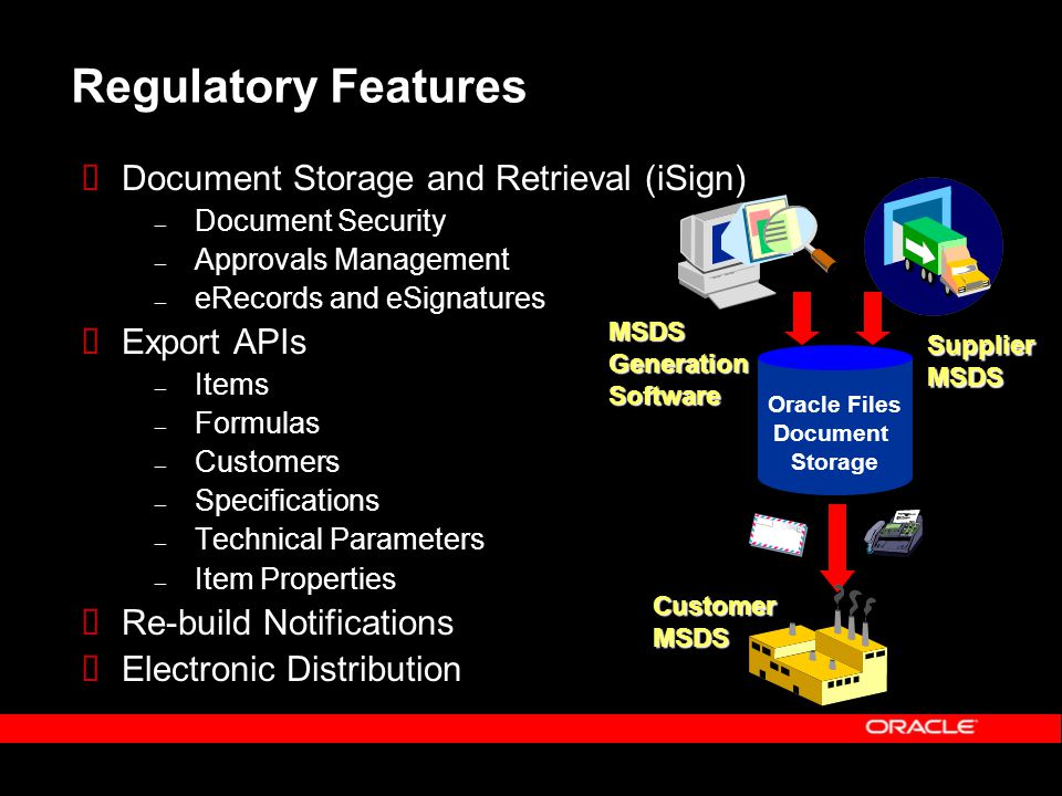Regulatory Features  Document Storage and Retrieval (iSign) – Document Security – Approvals Management – eRecords and eSignatures  Export APIs – Items – Formulas – Customers – Specifications – Technical Parameters – Item Properties  Re-build Notifications  Electronic Distribution Oracle Files Document Storage MSDSGenerationSoftware SupplierMSDS CustomerMSDS