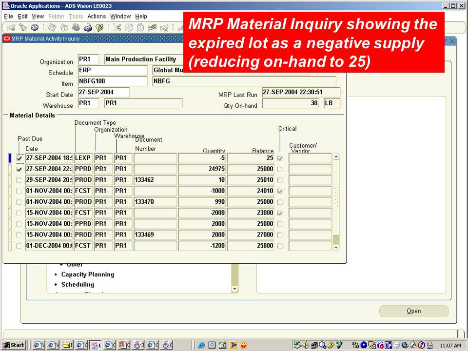 MRP Material Inquiry showing the expired lot as a negative supply (reducing on-hand to 25)