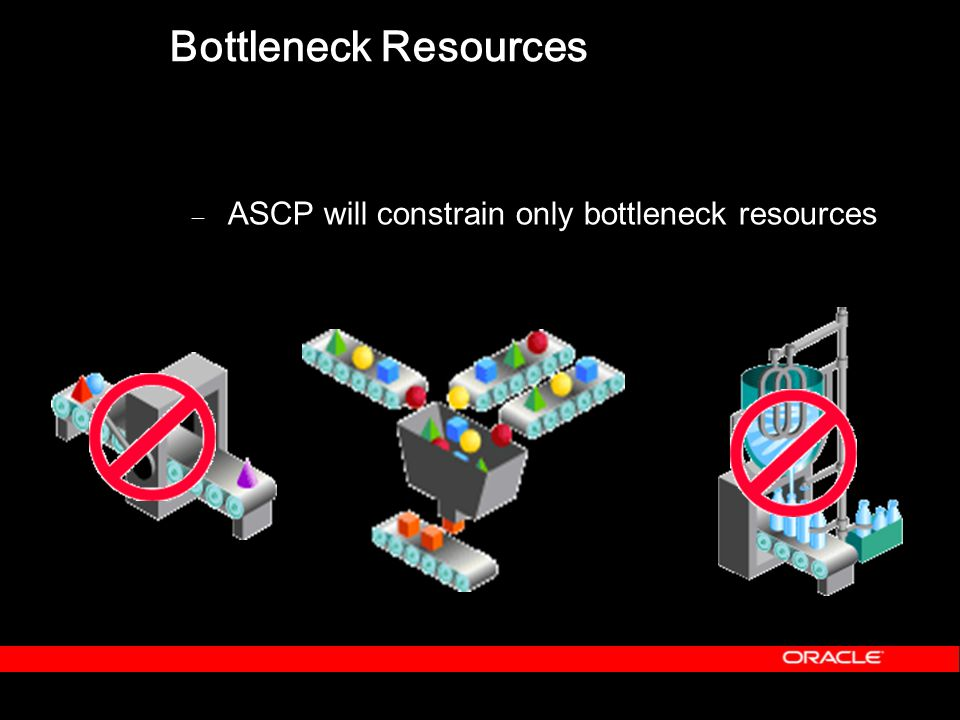 Bottleneck Resources – ASCP will constrain only bottleneck resources