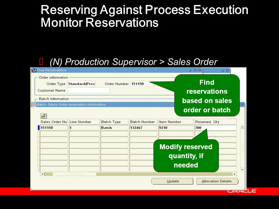 Reserving Against Process Execution Monitor Reservations  (N) Production Supervisor > Sales Order Reservations Modify reserved quantity, if needed Find reservations based on sales order or batch