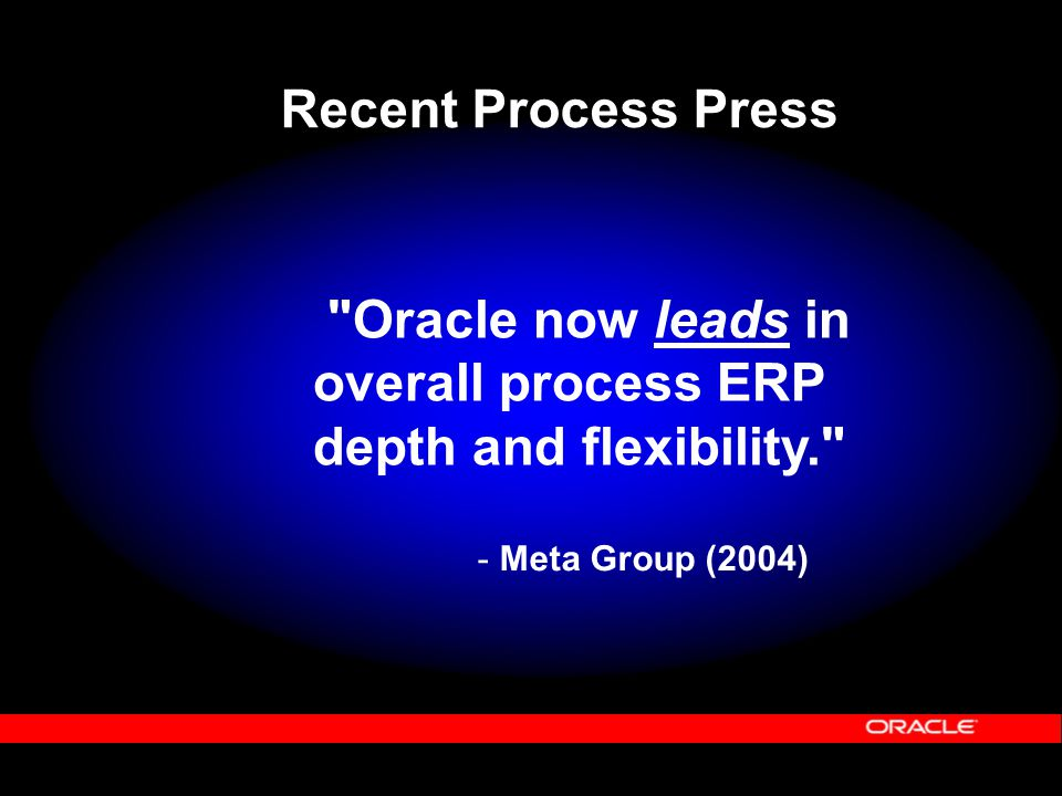 Oracle now leads in overall process ERP depth and flexibility. - Meta Group (2004) Recent Process Press