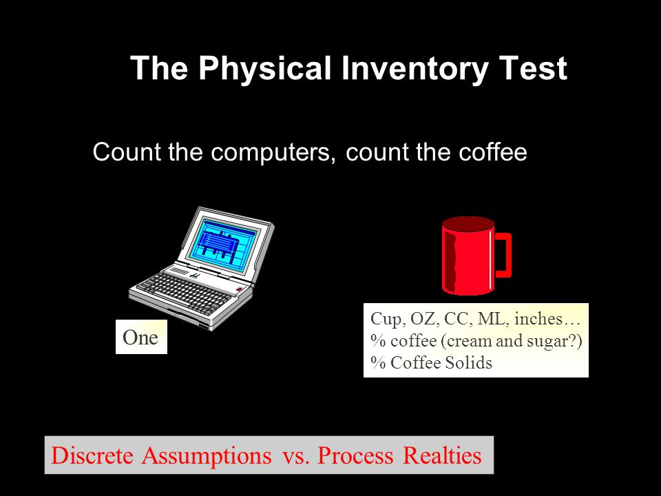 The Physical Inventory Test Count the computers, count the coffee One Cup, OZ, CC, ML, inches… % coffee (cream and sugar ) % Coffee Solids Cup, OZ, CC, ML, inches… % coffee (cream and sugar ) % Coffee Solids Discrete Assumptions vs.