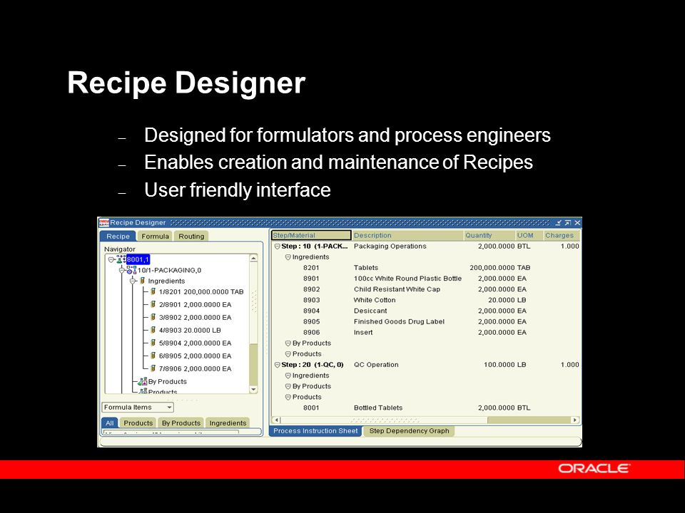Recipe Designer – Designed for formulators and process engineers – Enables creation and maintenance of Recipes – User friendly interface
