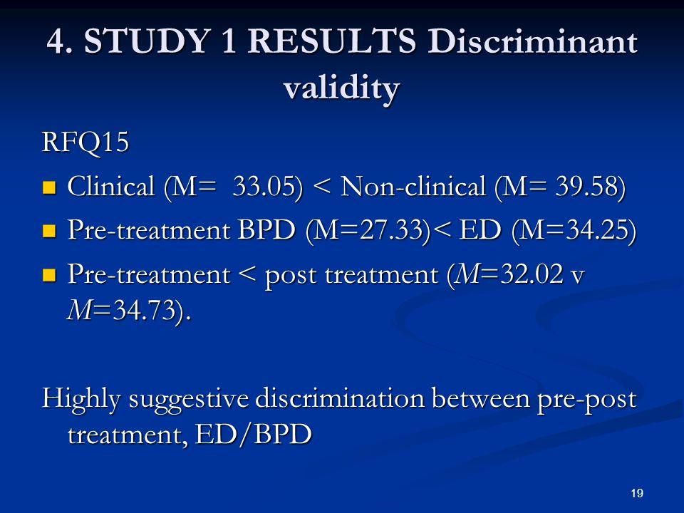 4. STUDY 1 RESULTS Discriminant validity RFQ15 Clinical (M= 33.05) < Non-clinical (M= 39.58) Clinical (M= 33.05) < Non-clinical (M= 39.58) Pre-treatme