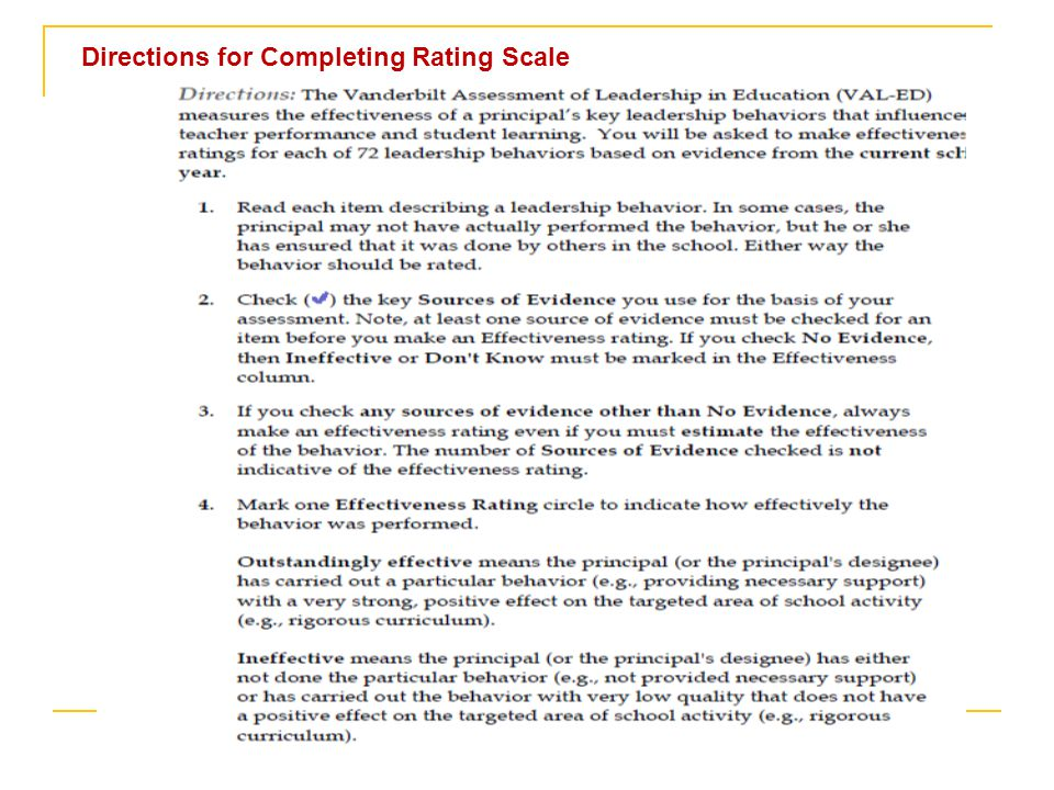 Directions for Completing Rating Scale