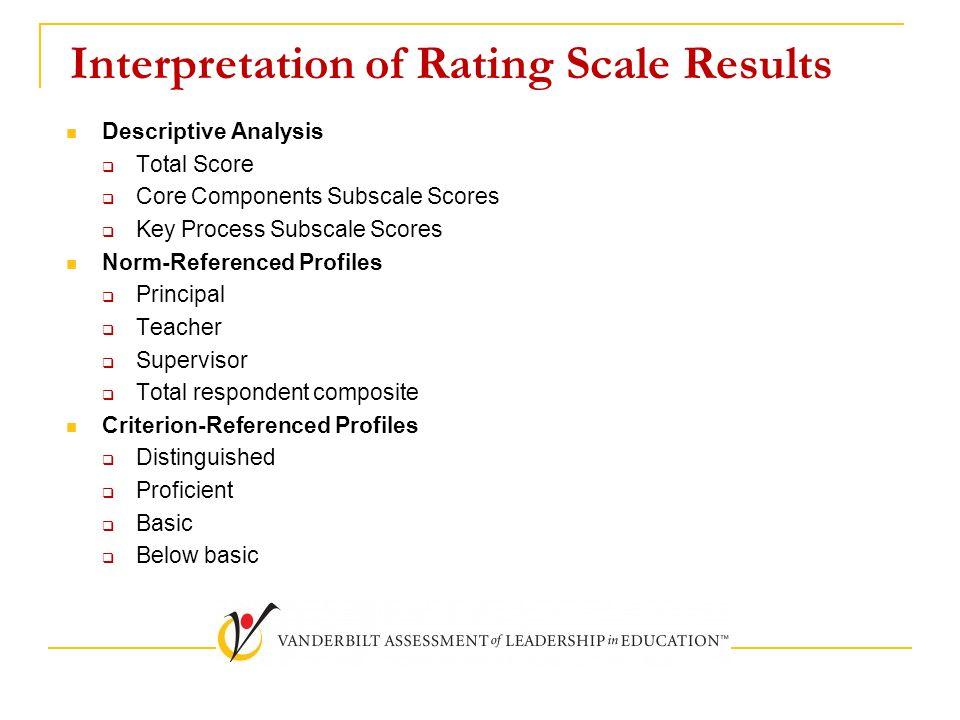 Interpretation of Rating Scale Results Descriptive Analysis  Total Score  Core Components Subscale Scores  Key Process Subscale Scores Norm-Referenced Profiles  Principal  Teacher  Supervisor  Total respondent composite Criterion-Referenced Profiles  Distinguished  Proficient  Basic  Below basic