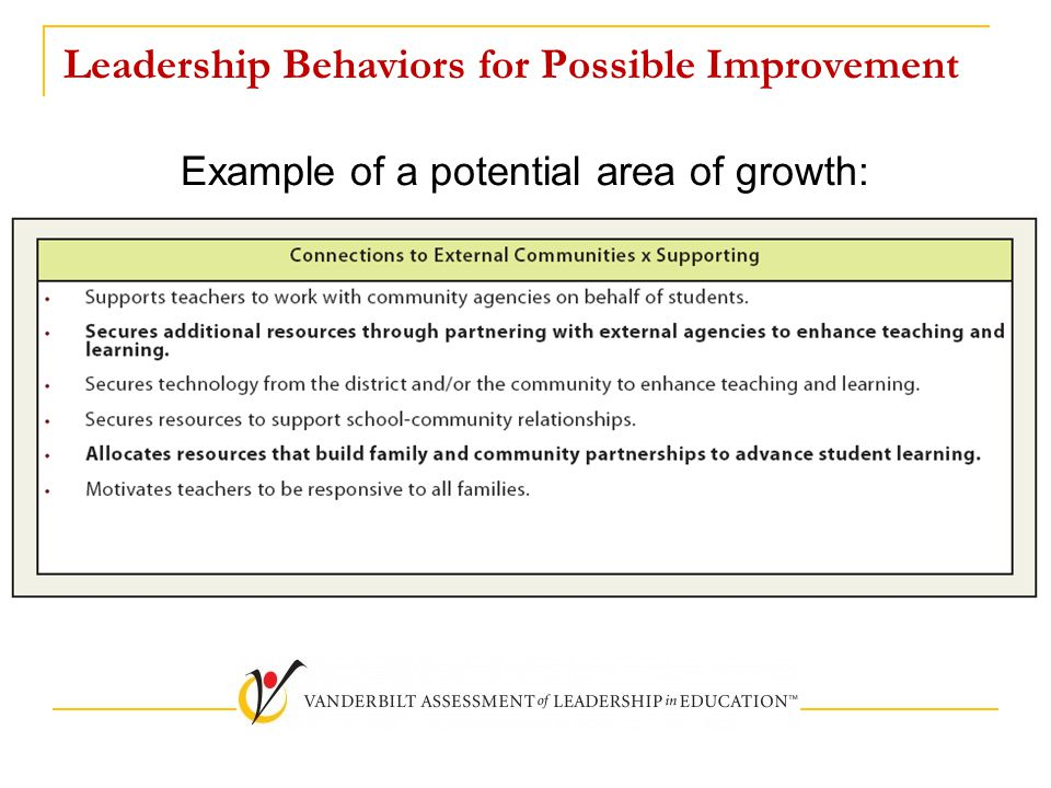 Leadership Behaviors for Possible Improvement Example of a potential area of growth: