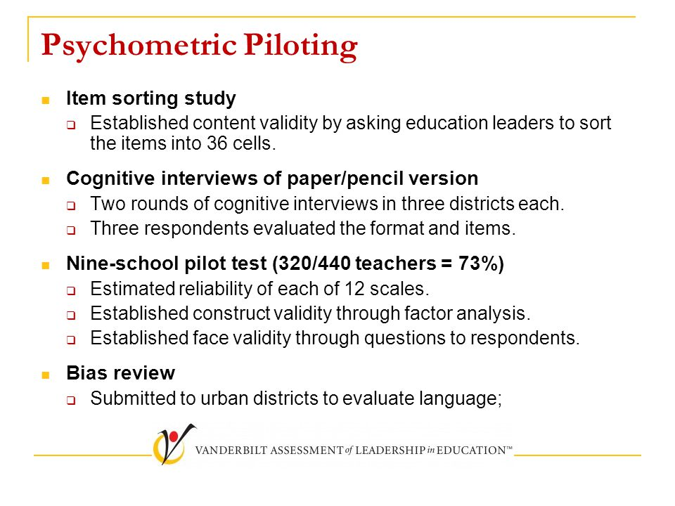Psychometric Piloting Item sorting study  Established content validity by asking education leaders to sort the items into 36 cells. Cognitive intervi