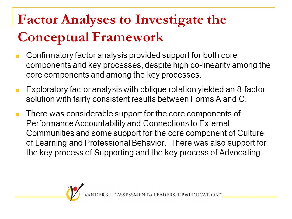 Factor Analyses to Investigate the Conceptual Framework Confirmatory factor analysis provided support for both core components and key processes, despite high co-linearity among the core components and among the key processes.