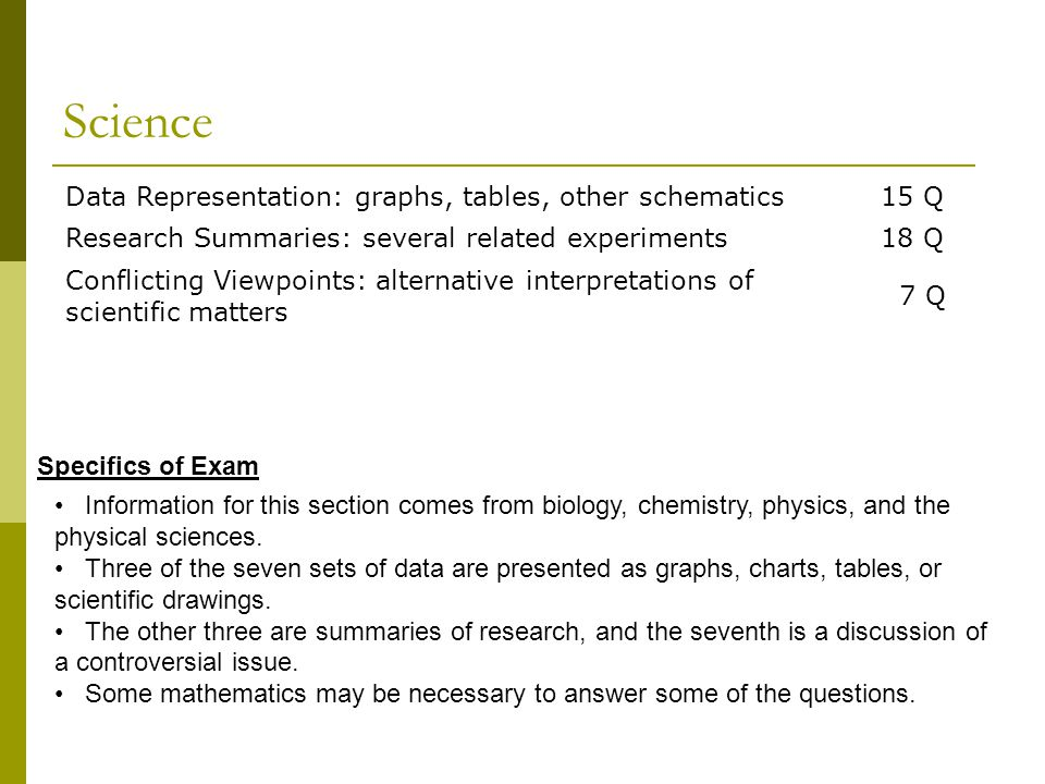 Science Data Representation: graphs, tables, other schematics15 Q Research Summaries: several related experiments18 Q Conflicting Viewpoints: alternative interpretations of scientific matters 7 Q Information for this section comes from biology, chemistry, physics, and the physical sciences.