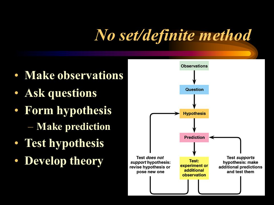 No set/definite method Make observations Ask questions Form hypothesis –Make prediction Test hypothesis Develop theory
