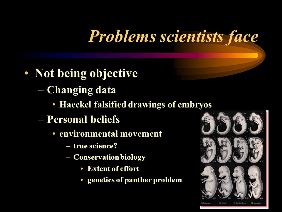 Problems scientists face Not being objective –Changing data Haeckel falsified drawings of embryos –Personal beliefs environmental movement –true science.
