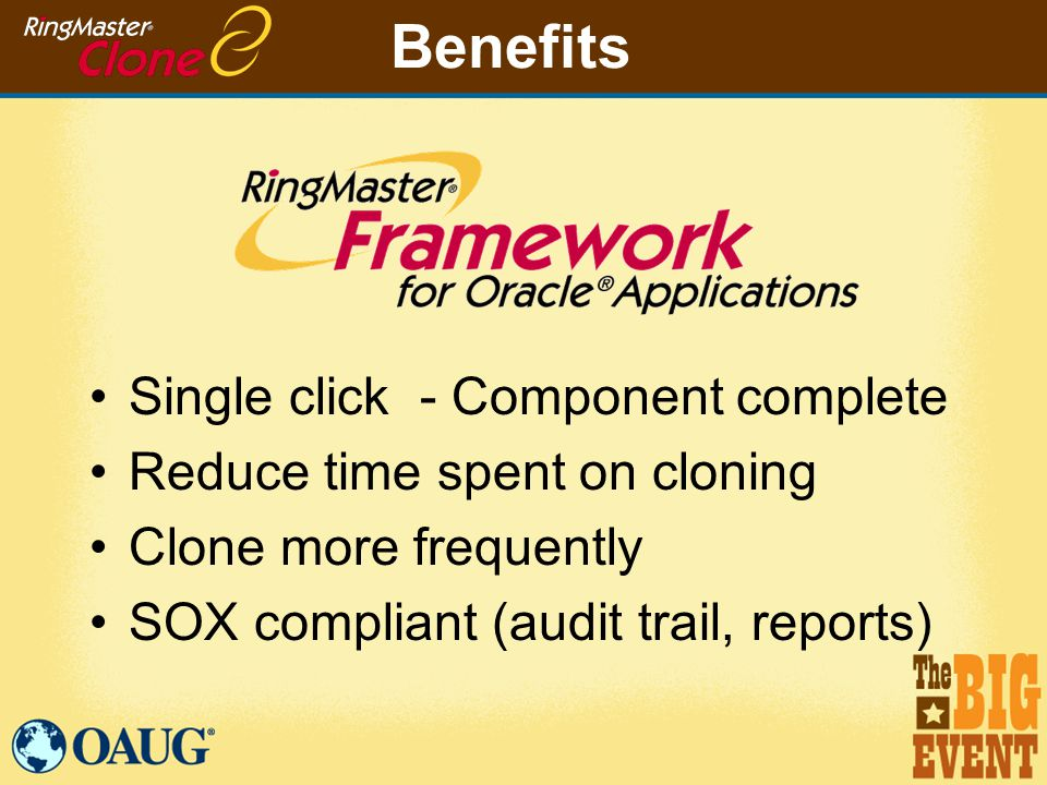 Benefits Single click - Component complete Reduce time spent on cloning Clone more frequently SOX compliant (audit trail, reports)