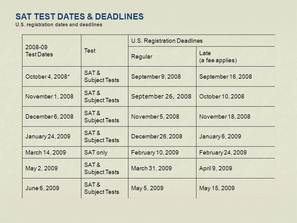 SAT TEST DATES & DEADLINES U.S. registration dates and deadlines 2008-09 Test Dates Test U.S.
