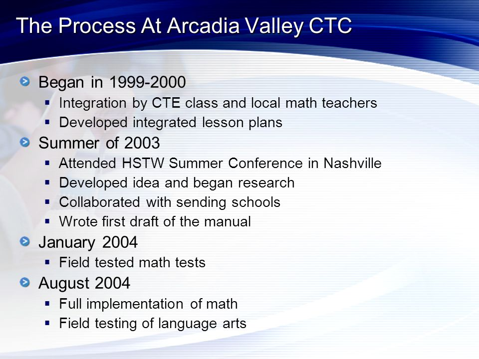 The Process At Arcadia Valley CTC Began in 1999-2000  Integration by CTE class and local math teachers  Developed integrated lesson plans Summer of