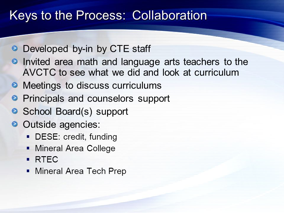 Keys to the Process: Collaboration Developed by-in by CTE staff Invited area math and language arts teachers to the AVCTC to see what we did and look