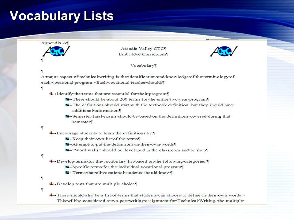 Vocabulary Lists