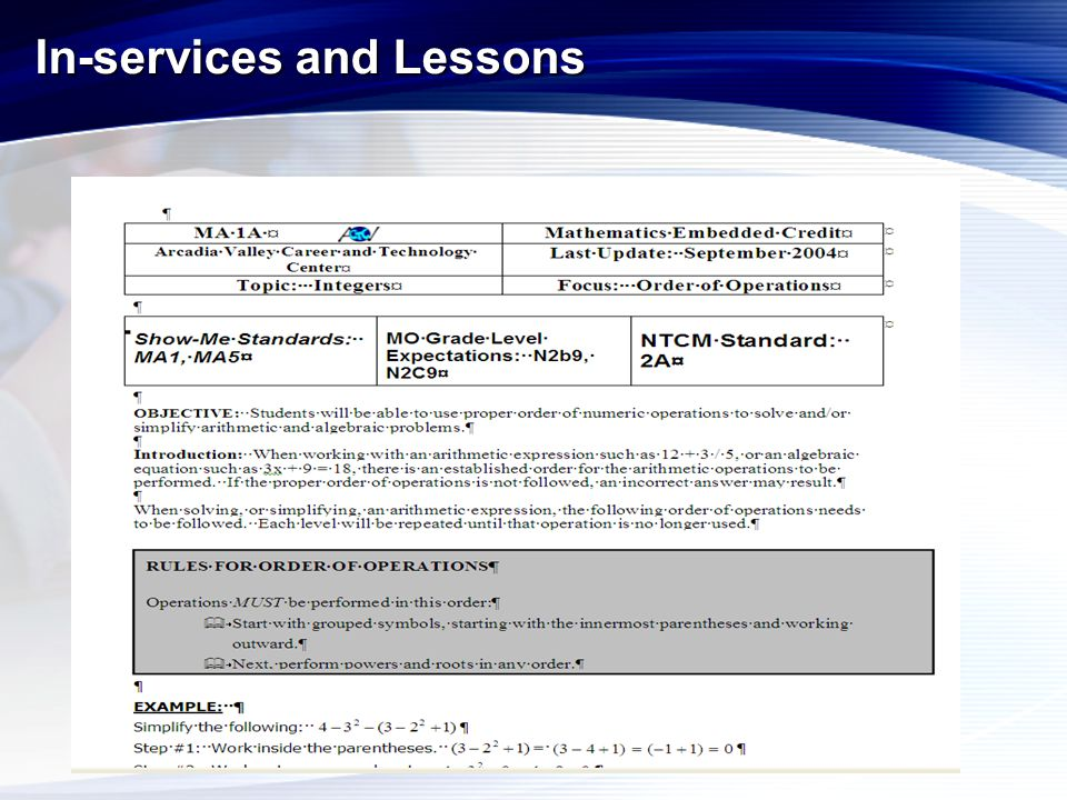 In-services and Lessons