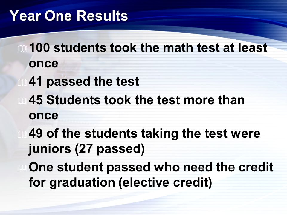  100 students took the math test at least once  41 passed the test  45 Students took the test more than once  49 of the students taking the test w