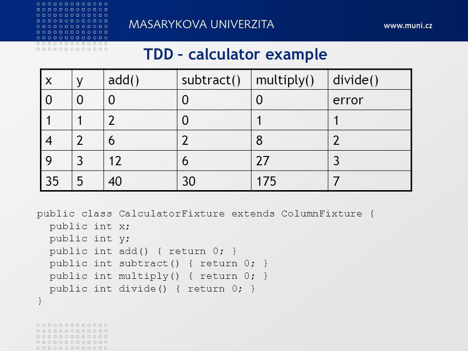 TDD – calculator example public class CalculatorFixture extends ColumnFixture { public int x; public int y; public int add() { return 0; } public int subtract() { return 0; } public int multiply() { return 0; } public int divide() { return 0; } } xyadd()subtract()multiply()divide() 00000error 112011 426282 93126273 35540301757