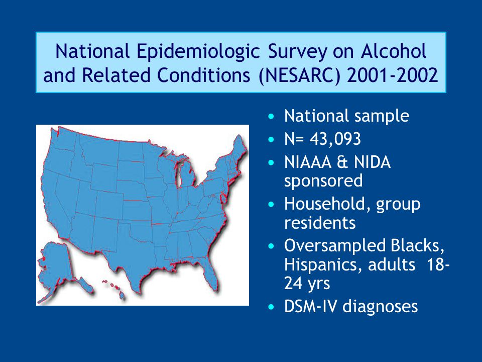 National Epidemiologic Survey on Alcohol and Related Conditions (NESARC) 2001-2002 National sample N= 43,093 NIAAA & NIDA sponsored Household, group residents Oversampled Blacks, Hispanics, adults 18- 24 yrs DSM-IV diagnoses