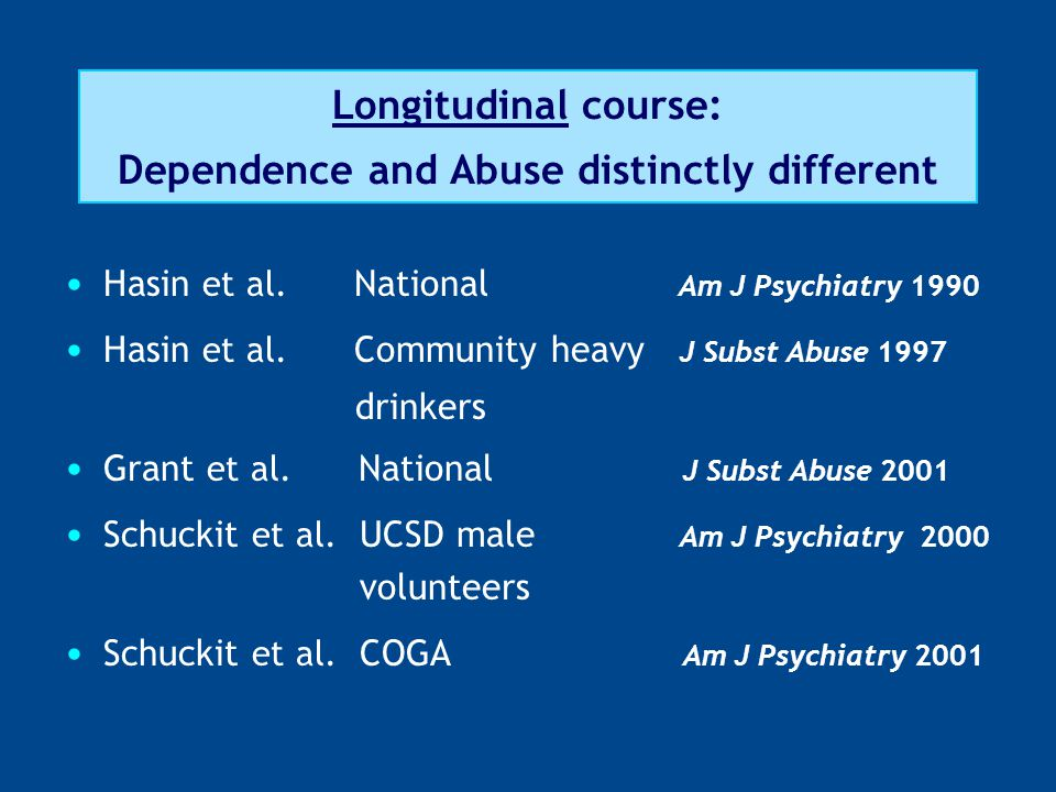 Longitudinal course: Dependence and Abuse distinctly different Hasin et al. National Am J Psychiatry 1990 Hasin et al. Community heavy J Subst Abuse 1