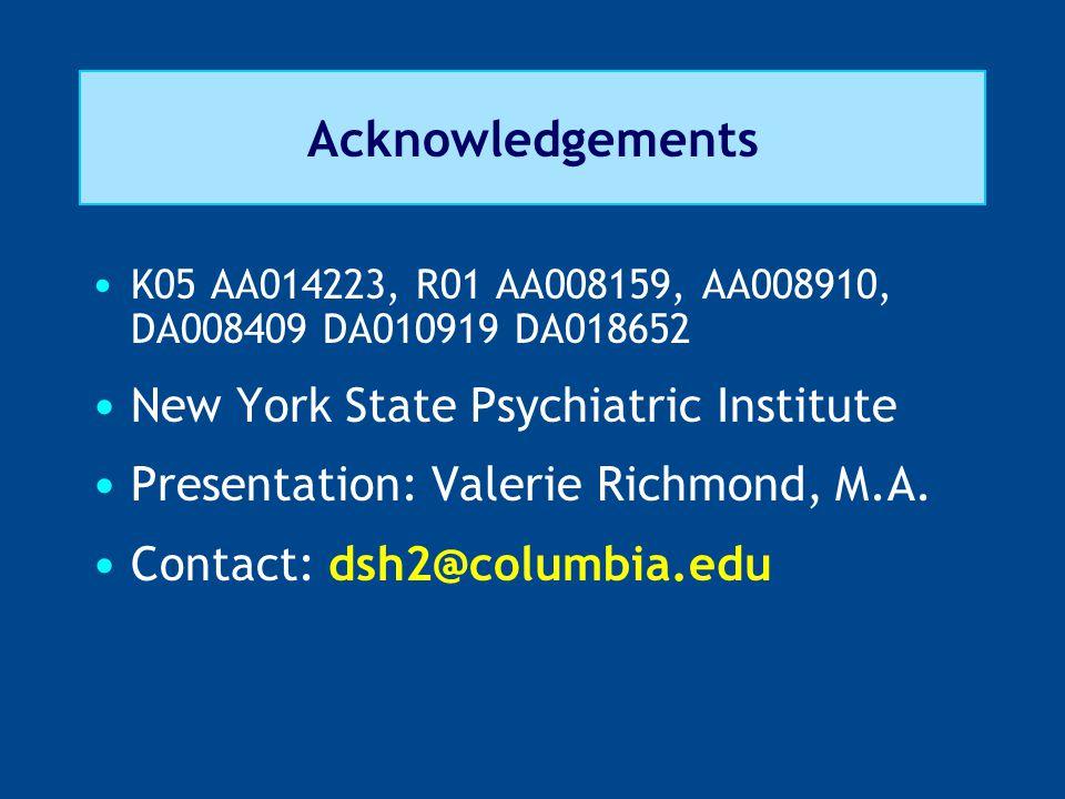 Acknowledgements K05 AA014223, R01 AA008159, AA008910, DA008409 DA010919 DA018652 New York State Psychiatric Institute Presentation: Valerie Richmond, M.A.