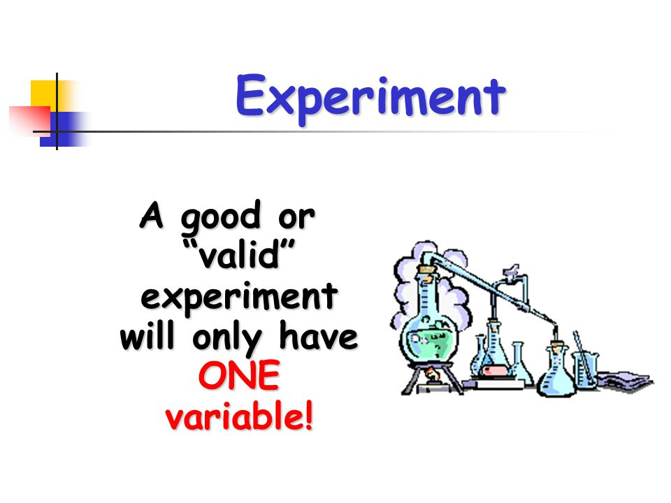 "Experiment A good or ""valid"" experiment will only have ONE variable!"