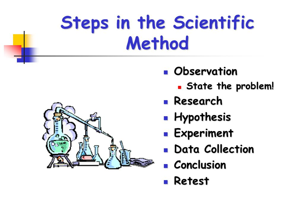Steps in the Scientific Method Observation Observation State the problem! State the problem! Research Research Hypothesis Hypothesis Experiment Experi
