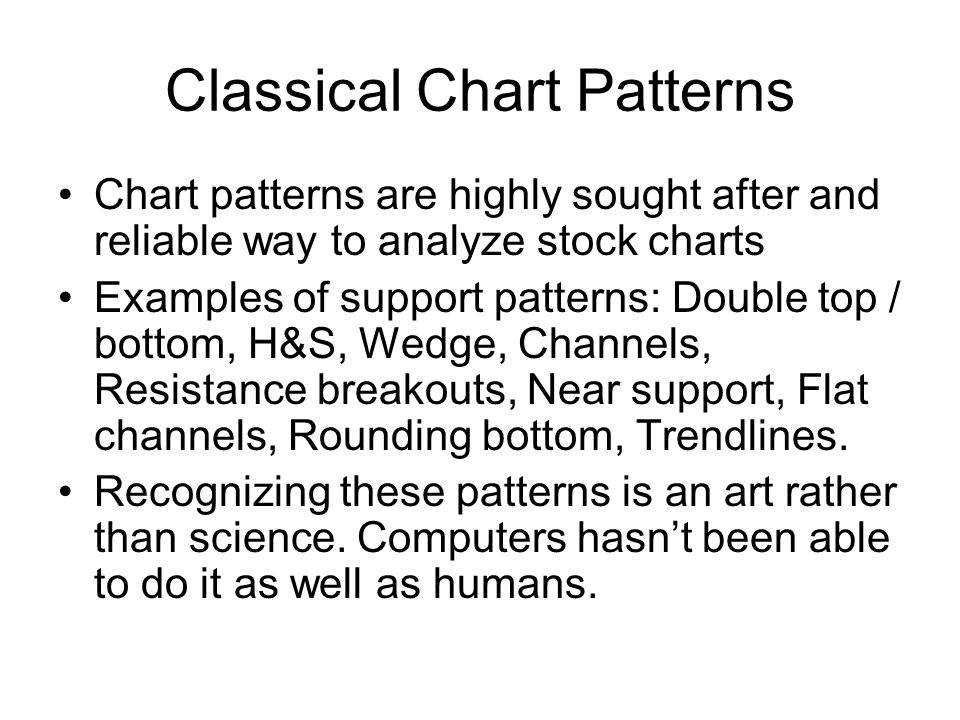 Classical Chart Patterns Chart patterns are highly sought after and reliable way to analyze stock charts Examples of support patterns: Double top / bottom, H&S, Wedge, Channels, Resistance breakouts, Near support, Flat channels, Rounding bottom, Trendlines.