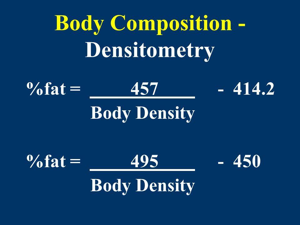 Body Composition - Densitometry %fat = 457 - 414.2 Body Density %fat = 495 - 450 Body Density