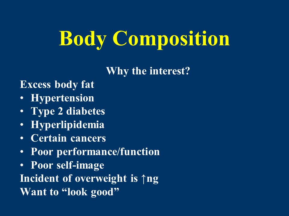 Body Composition Why the interest? Excess body fat Hypertension Type 2 diabetes Hyperlipidemia Certain cancers Poor performance/function Poor self-ima