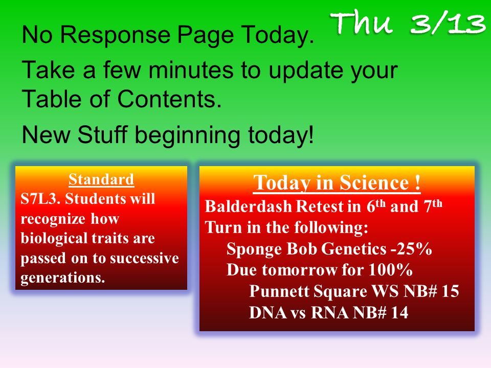 No Response Page Today. Take a few minutes to update your Table of Contents.