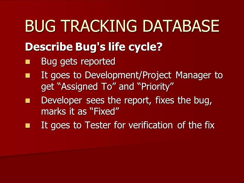 BUG TRACKING DATABASE Describe Bug s life cycle.
