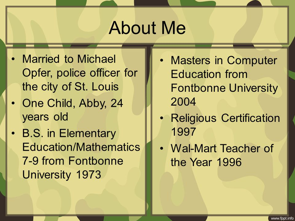 About Me Married to Michael Opfer, police officer for the city of St.