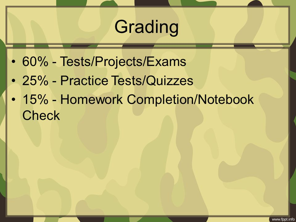 Grading 60% - Tests/Projects/Exams 25% - Practice Tests/Quizzes 15% - Homework Completion/Notebook Check