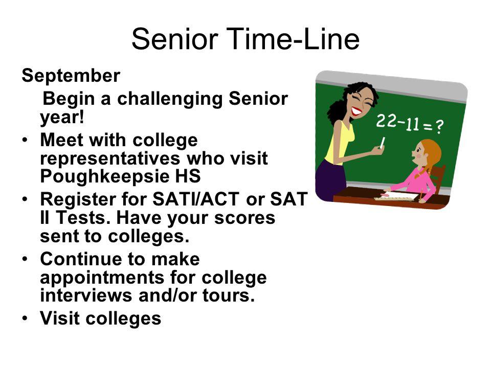 Senior Time-Line September Begin a challenging Senior year.