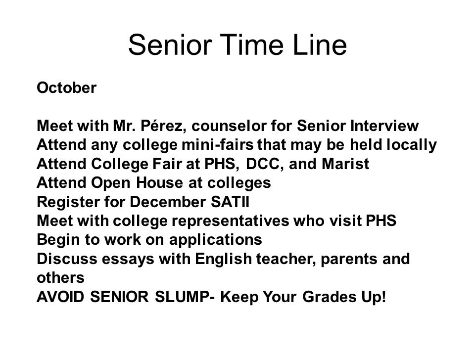 Senior Time Line October Meet with Mr.