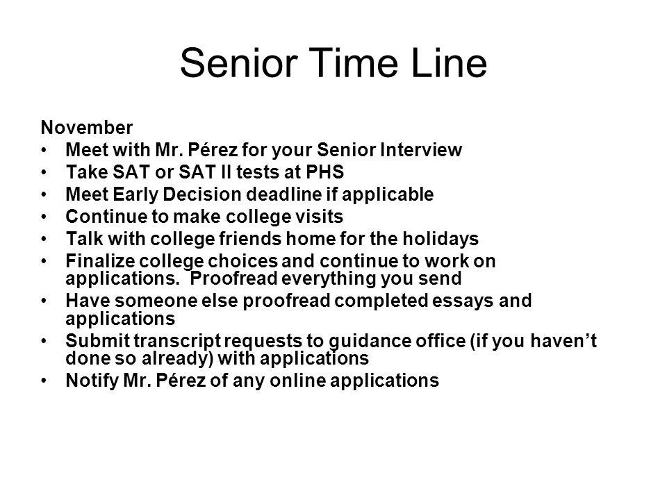 Senior Time Line November Meet with Mr.