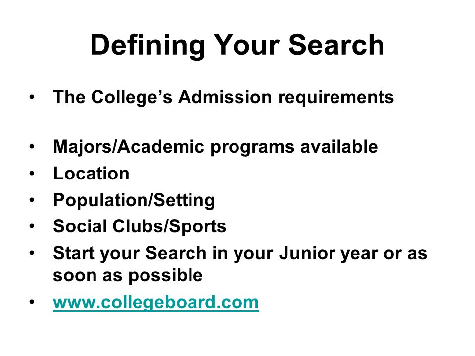 Apply to Choice Colleges Work with your high school to send transcripts & test scores.