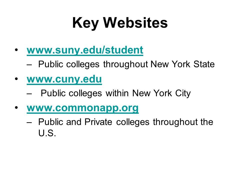 Key Websites www.suny.edu/student –Public colleges throughout New York State www.cuny.edu – Public colleges within New York City www.commonapp.org –Public and Private colleges throughout the U.S.
