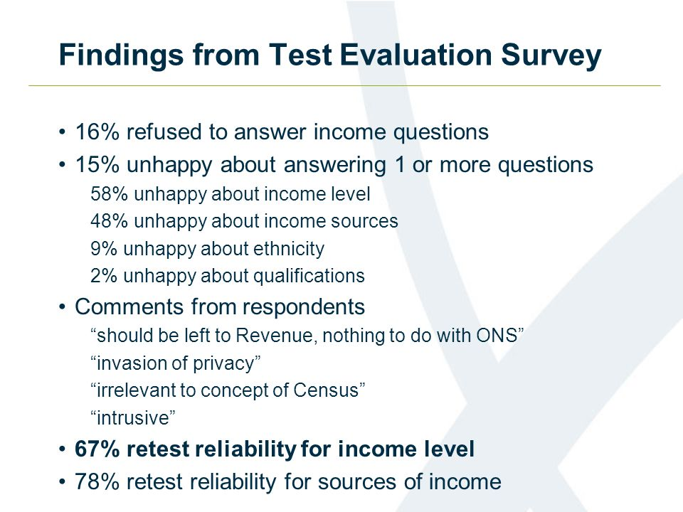 Findings from Test Evaluation Survey 16% refused to answer income questions 15% unhappy about answering 1 or more questions 58% unhappy about income l
