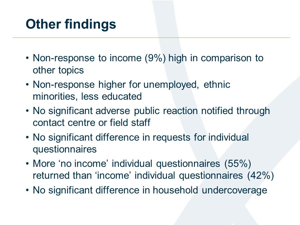 Other findings Non-response to income (9%) high in comparison to other topics Non-response higher for unemployed, ethnic minorities, less educated No significant adverse public reaction notified through contact centre or field staff No significant difference in requests for individual questionnaires More 'no income' individual questionnaires (55%) returned than 'income' individual questionnaires (42%) No significant difference in household undercoverage