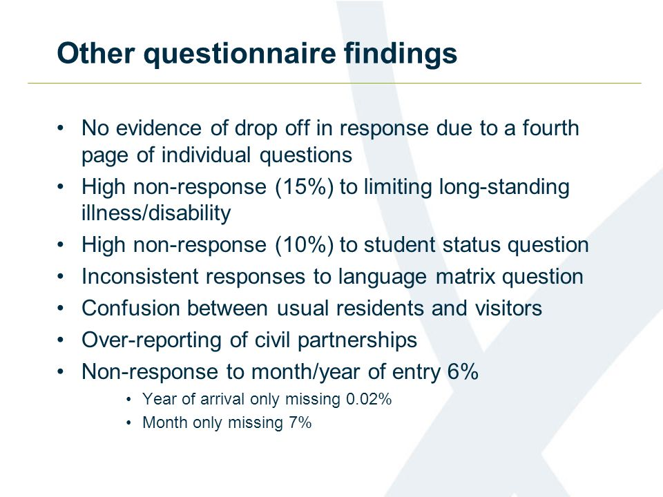 Other questionnaire findings No evidence of drop off in response due to a fourth page of individual questions High non-response (15%) to limiting long-standing illness/disability High non-response (10%) to student status question Inconsistent responses to language matrix question Confusion between usual residents and visitors Over-reporting of civil partnerships Non-response to month/year of entry 6% Year of arrival only missing 0.02% Month only missing 7%