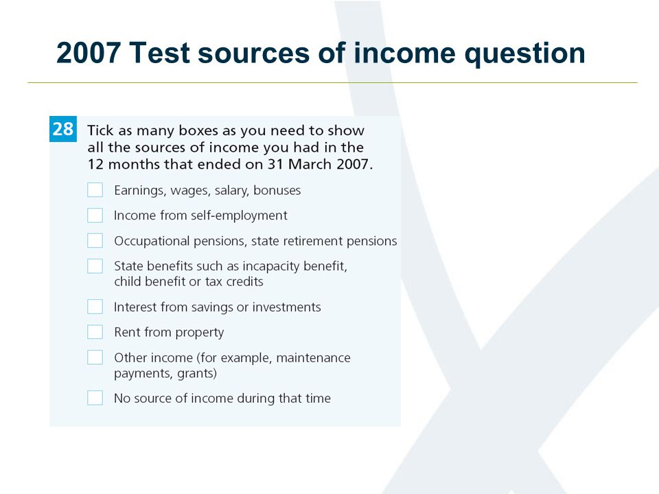 2007 Test sources of income question