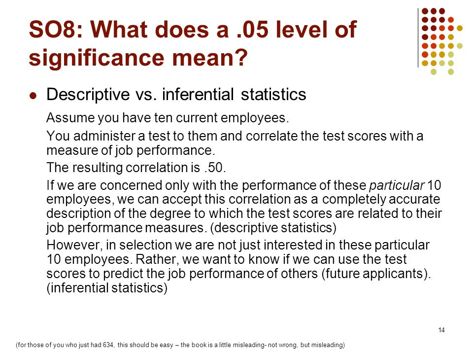 14 SO8: What does a.05 level of significance mean.