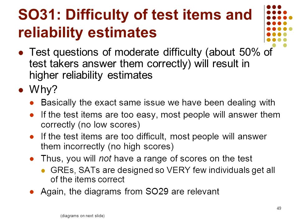 49 SO31: Difficulty of test items and reliability estimates Test questions of moderate difficulty (about 50% of test takers answer them correctly) will result in higher reliability estimates Why.