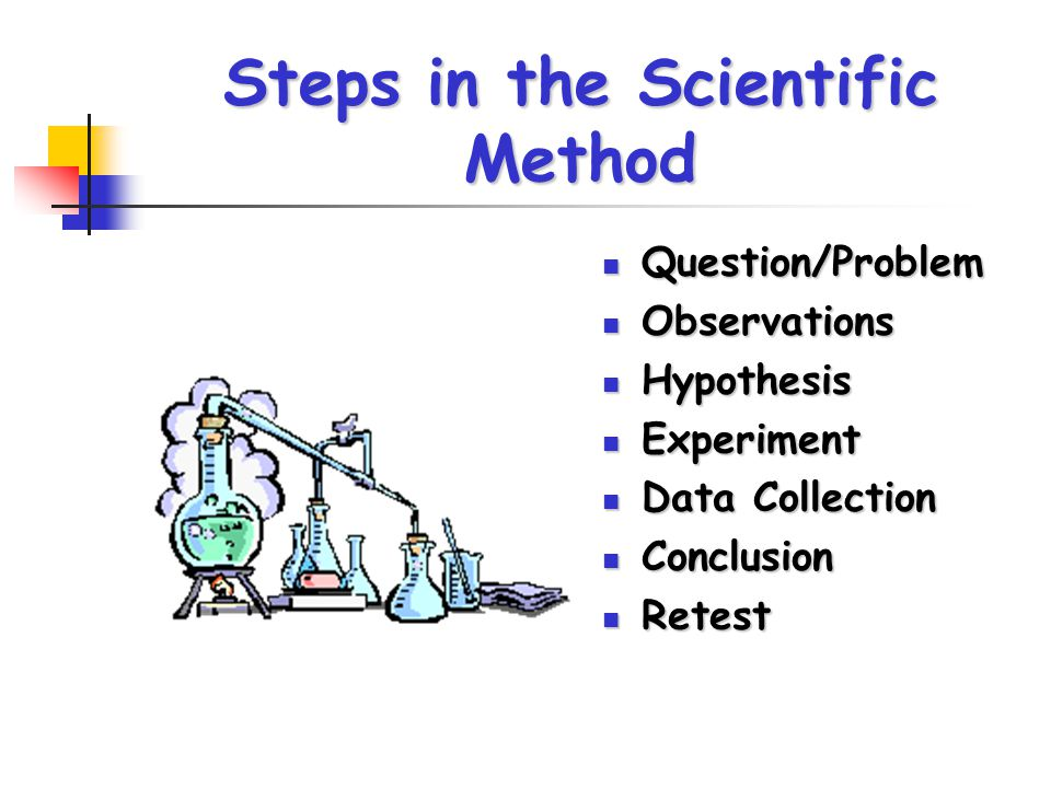 Steps in the Scientific Method Question/Problem Question/Problem Observations Observations Hypothesis Hypothesis Experiment Experiment Data Collection