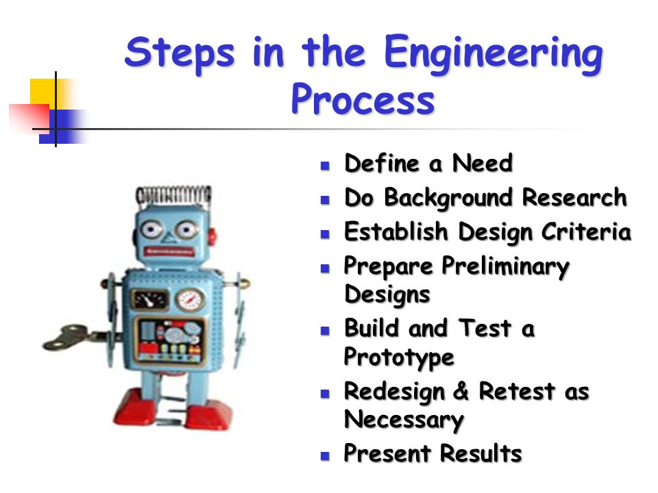 Steps in the Engineering Process Define a Need Define a Need Do Background Research Do Background Research Establish Design Criteria Establish Design